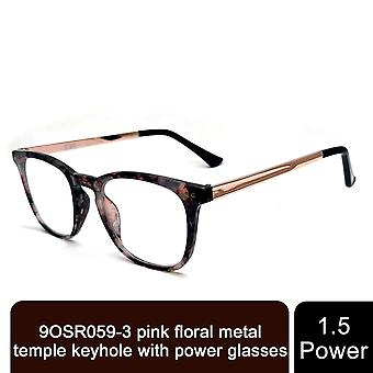 Storm Unisex Leightweight Pink Floral Metal Comfortable Spring Hinge +1.5 Power Glasses
