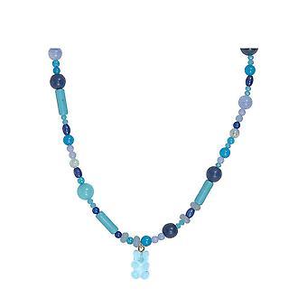 Edelstein Halskette im Farbverlauf mit Gummibärchen - BLAU - Made in Germany