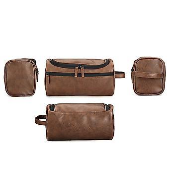 Men's Vintage PU Leather Washing Storage Bag Large Travel Toiletry Organizer Case Cosmetic Bags
