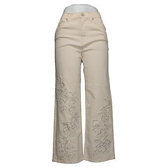 DG2 door Diane Gilman Dames Jeans Geborduurd & Gerafeld ivoor 687769