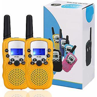 Dos pequeños walkie talkies amarillos para niños, walkie talkies pequeños, talkies portátiles