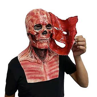 Halloween Mask Dobbelt-faced Latex Mask Fuld Hoved Scary Masker Party Cosplay Kostumer Joker Clown Fullhead Scary Party Hjelm