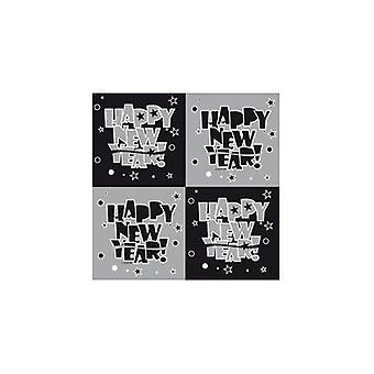 Silvester Deko napkins 20 PCs silver of black happy new year