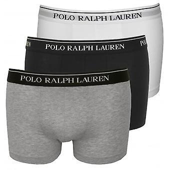 Polo Ralph Lauren Cotton Stretch Triple Pack Boxer Trunks, Black/White/Grey