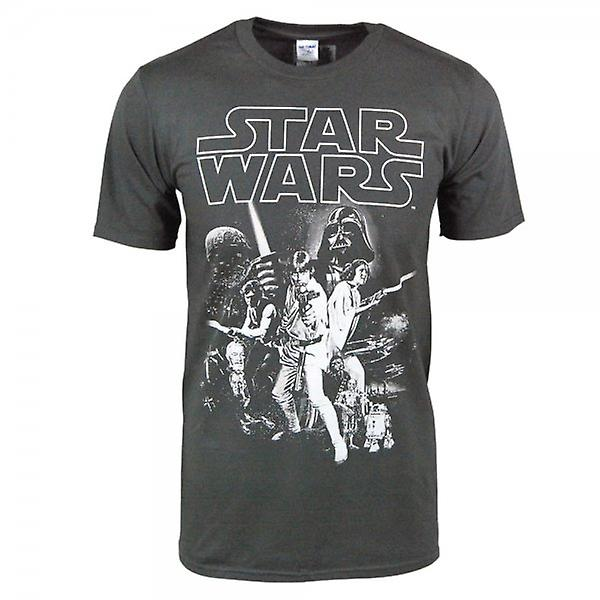 Star Wars Mens Star Wars Vintage Poster T Shirt Charcoal