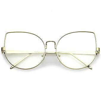 Damen Oversize Metall Katze Brillen mit klaren flachen Objektiv 63mm