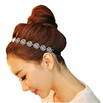 Fresh Pretty Metallic Lady Hollow Rose Flower Elastic Hair Band Headband by Boolavard® TM