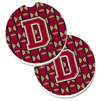 Letter D Football Garnet and Gold Set of 2 Cup Holder Car Coasters