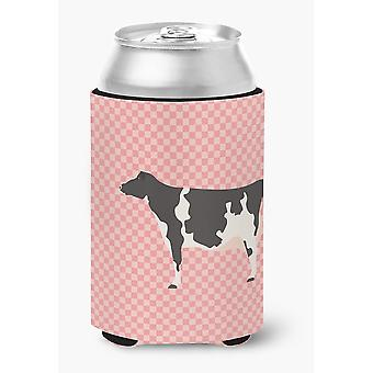 Carolines Treasures  BB7822CC Holstein Cow Pink Check Can or Bottle Hugger