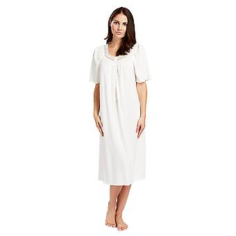 Féraud 3883040-10044 Women's Champagne White Cotton Night Gown Loungewear Nightdress