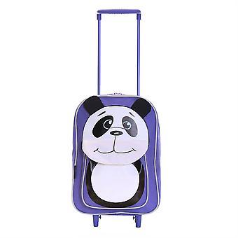 Karabar Wildlife Panda Kids Trolley Bag, Purple