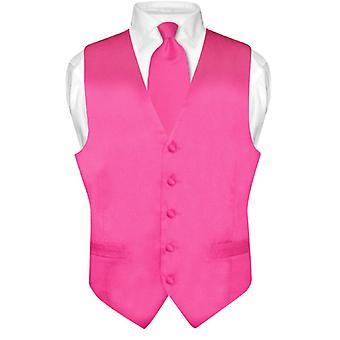 Biagio Men's SILK Dress Vest & NeckTie Solid Neck Tie Set
