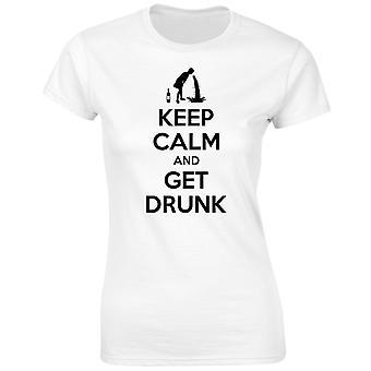 Hålla lugn och få full Womens T-Shirt 8 färger (8-20) av swagwear