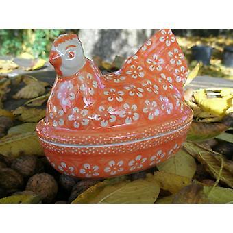 Kylling som æg, 2nd valg, 17 x 11 cm, 14 cm høj, Bolesławiec orange, BSN m-4378