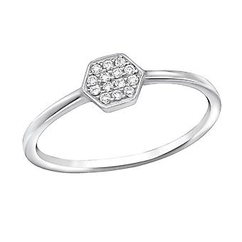 Hexagon - 925 Sterling Silver Jewelled Rings - W30539x