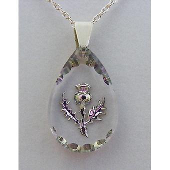 Heather Small Teardrop Thistle pendente de cristal