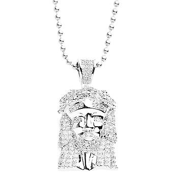 Iced out bling micro pave necklace - MINI JESUS