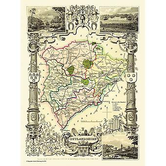 Gammal karta av Rutland (shire) 1836 av Thomas Moule 1000 bit pussel (jhg)