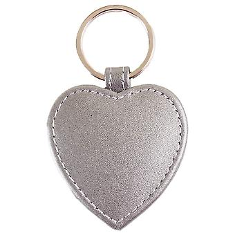 Byron and Brown Heart Shaped Keyring - Pearlised Silver