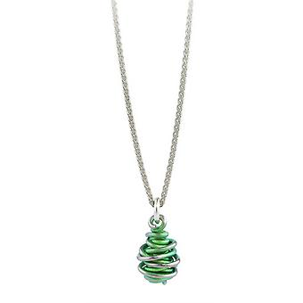 Ti2 Titanium Chaos Drop Pendant and Silver Necklace - Fresh Green