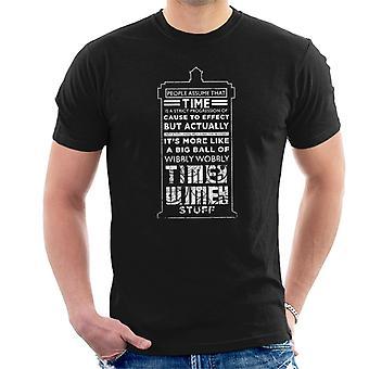 Doctor Who Tardis tiempo texto cita blanco camiseta de los hombres