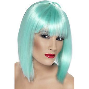 Short Neon Aqua Straight Wig, Glam Wig With Fringe, Fancy Dress Accessory.