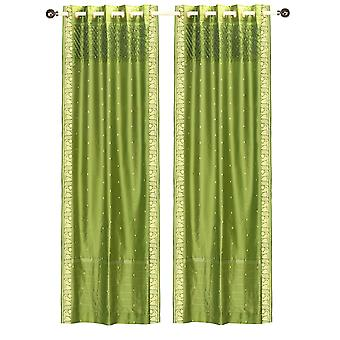 Olive Green Handcrafted Grommet Sheer Sari Curtain Drape Panel-Piece