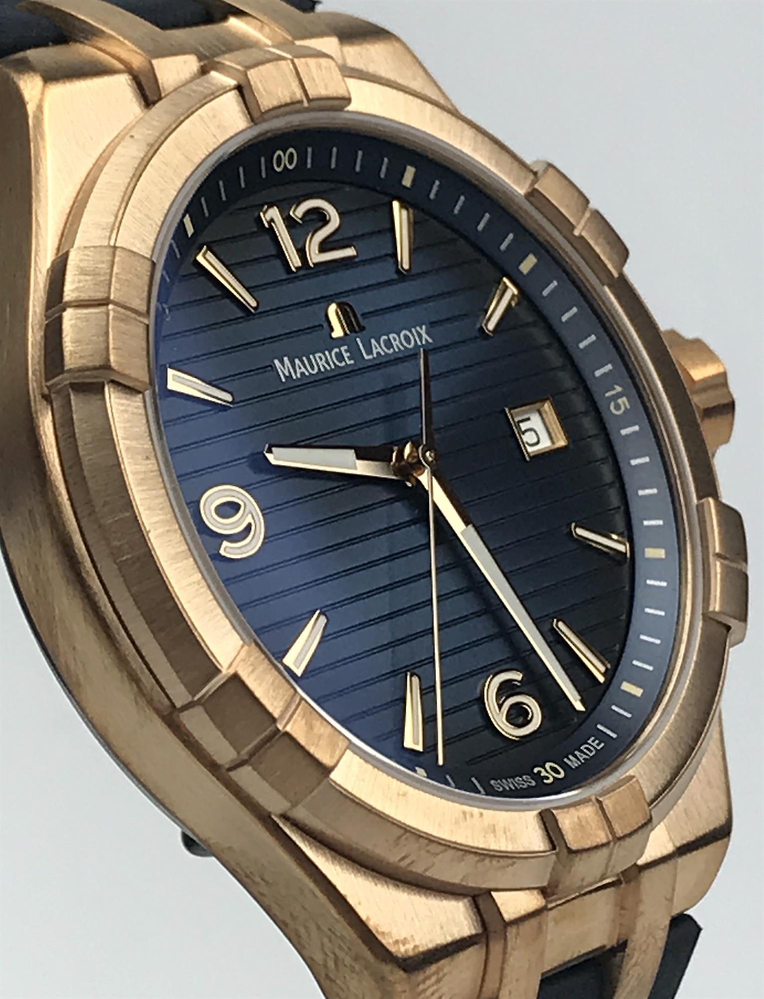 Maurice Lacroix Aikon Bronze Limited Edition Blue Leather Strap Men's Watch AI1028-BRZ01-420-1