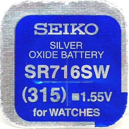 Seiko 315 (sr716sw) 1.55v Silver Oxide (0%hg) Mercury Free Watch Battery - Made In Japan