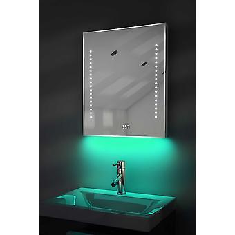 Digitális óraborotva tükör világítás alatt, páramentesítő vel és érzékelő vel k191