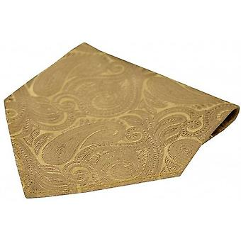 David Van Hagen Luxury Paisley Silk Handkerchief - Beige