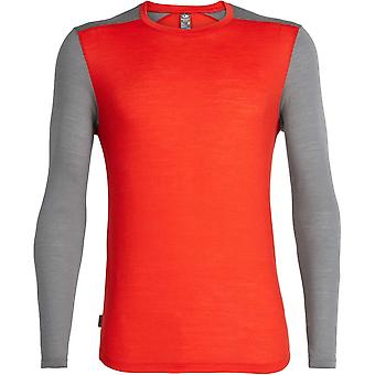 Icebreaker Sphere Cool-Lite Long Sleeve Crew - Chilli Red/Timberwolf