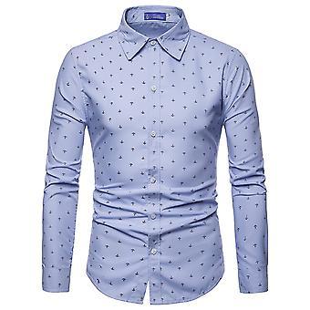 Allthemen heren shirt met lange mouwen afgedrukt anker katoen mix shirt 4 kleuren