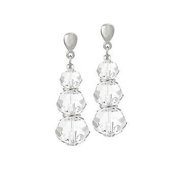 Eternal Collection Trinity Clear Austrian Crystal Silver Tone Drop Clip On Earrings