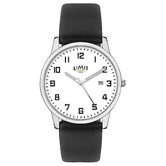 Limit | Mens Black Leather Strap | Silver/White Dial | 5741.01 Watch