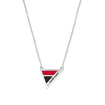 Calgary Flames Engraved Sterling Silver Diamond Geometric Necklace In Red & Black