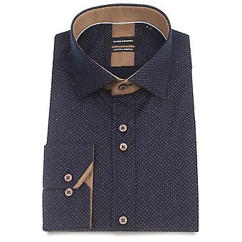 Guide London Navy Cotton Stretch Ditsy Pattern Mens Shirt