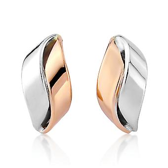 Jewelco London Ladies 9ct White Pink Rose Gold Wavy Ribbon Stud Drop Earrings 7 x 15mm