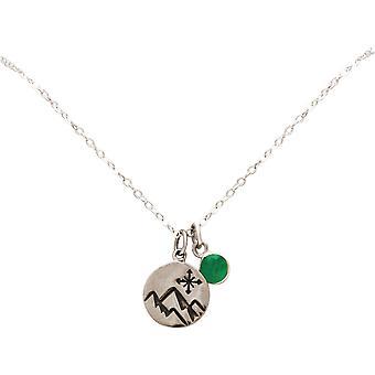 Gemshine Alpin Windrose Kompass Halskette 925 Silber, vergoldet, rose - Smaragd