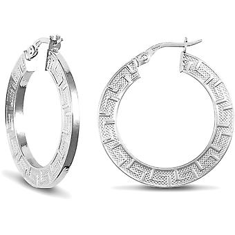 Jewelco London Ladies 9ct White Gold Greek Key Flat 2mm Boucles d'oreilles Hoop 27mm