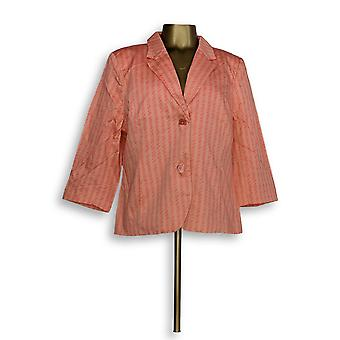 Isaac Mizrahi Live! Women's Blazer Rope Print Orange A262834