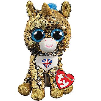 TY Flippables Noble the Unicorn With Union Jack 15 cm