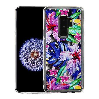 Watercolor Hibiscus & Silver Quicksand Glitter Hybrid Case for Galaxy S9 Plus