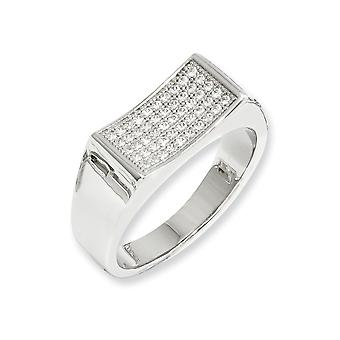 925 Sterling Silver Rhodium plated and CZ Cubic Zirconia Simulated Diamond Fancy Polished Ring Size 7 Jewelry Gifts for