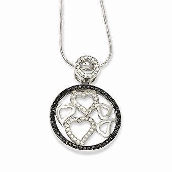 925 Cierre de garra de langosta de plata esterlina y cz zirconia cúbica diamante brillante brasas amor corazón collar 18