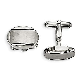Stainless Steel Polished Brushed and Enameled Oval Cuff Links Jewelry Gifts for Men