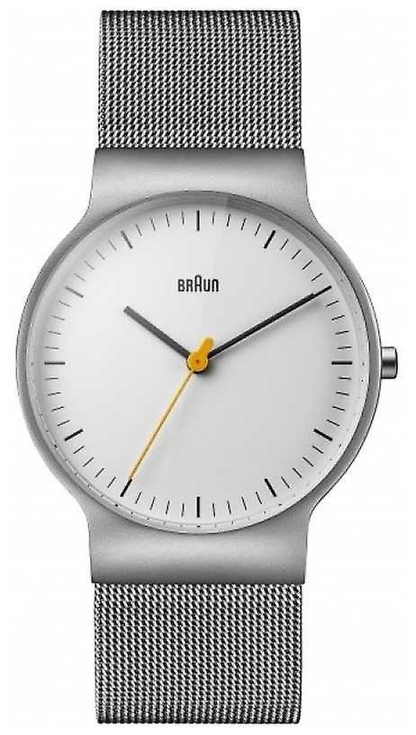 Braun Mens Classic Slim White Dial Mesh Bracelet BN0211WHSLMHG Watch