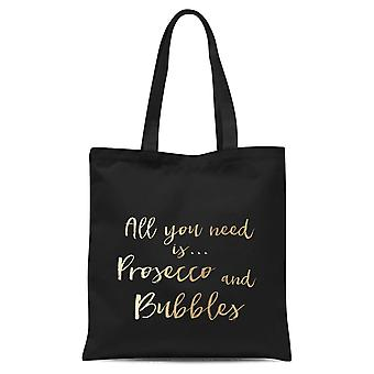 All You Need Is Prosecco And Bubbles Tote Bag - Black
