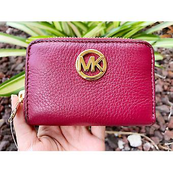 Michael kors fulton coin case small wallet mulberry burgundy pebble leather