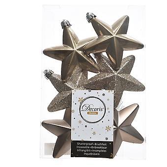 6cm Cashmere Brown Matt, Foil & Glitter Shatterproof Christmas Star Tree Baubles - 6 Pack
